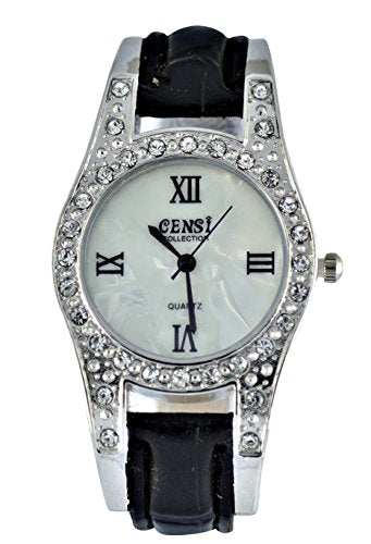 Censi Women's Sliver Diamante Bezel PU Leather Strap Analog Wrist Watch Japanese Quartz Roman Numbers Buckle Clasp Extra Battery