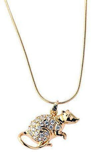 Imitation Gold Plated White Austrian Crystals Mouse Pendant with Gold Plated Chain