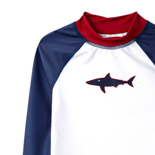Ex High End High Street Boy's Shark Rash Guard Vest Blue Indigo UPF50 Protection