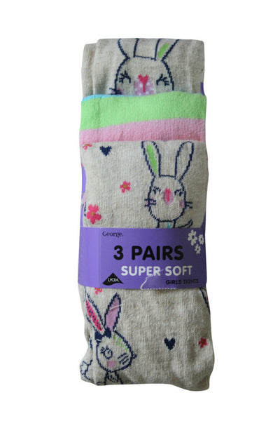 3 Pairs Super Soft Girls Cotton Tights, Navy Stripes, Rainbow Stripes, H&T Pink