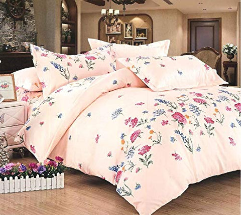 Bullahshah Beautiful Peachy Pink Luxury Floral Print Single Duvet Cover Bedding Set with Pillowcases