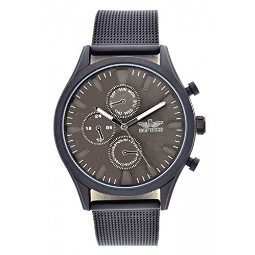 Softech Men's Gunmetal Bezel Mesh Strap Decorative Chronograph Metal Wrist Watch Analog Quartz Hook Buckle Clasp Extra Battery