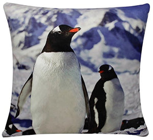 Penguin Print Chenille Cotton 17 x 17 inch Cushion Cover for Sofa Bed Couch