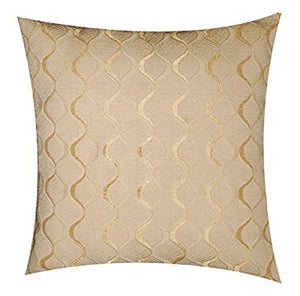 Two Sided Print Khadi Weaved Abstract Lined Plush Ivory Beige 17''x 17'' Cushion Cover Pillow for Sofas Beds