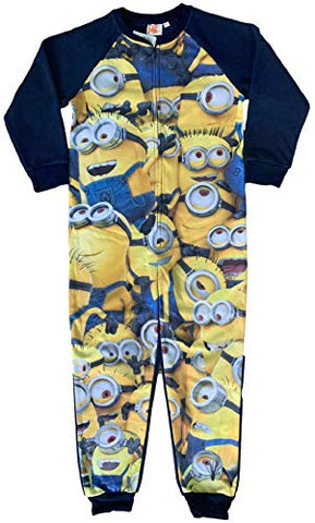 Minions Boy's Character Onezee Fleece All in One Sleepsuit One Piece Pj for Kids