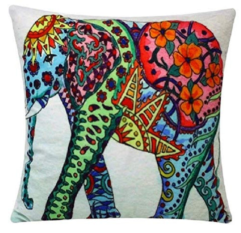 Multicolored Aztec Print Elephant Animal Print Chenille Cotton 17 x 17 inch Cushion Cover Pillowcase for Sofa Bed Couch