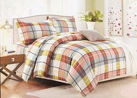 Bullahshah Luxurious Check Design Double Duvet Cover Bedding Set with Pillowcases White/Green/Brown/Pink/Blue