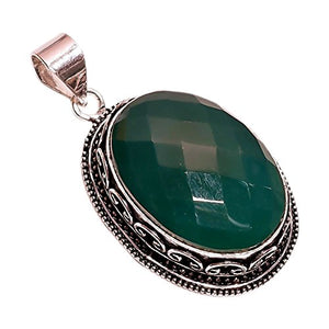 925 Sterling Silver Overlay NLG-120 Green Chalcedony Width 1cm Girls Women's Necklace Pendant Rhodium Plated Chain