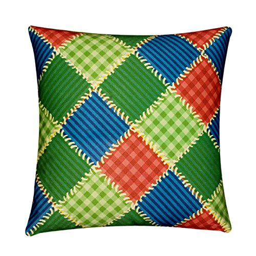 "Green Orange Blue Check Vintage Print 100% Twill Cotton 16"" X 16"" Cushion Cover Pillow for Sofa Bed"