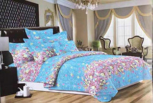Bullahshah Blooming Floral Print Duvet Cover Bedding Set with Pillowcases Blue/Pink/White