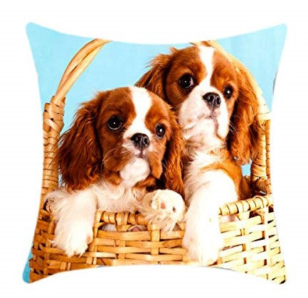 "Cute Twin Dogs Animal Print Square 18"" X 18"" Cushion Cover Pillowcase for Sofa Bed Couch"