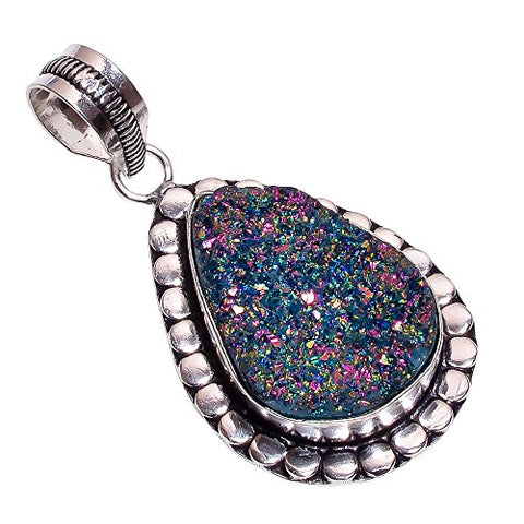 925 Sterling Silver Overlay Handmade Titanium Druzy Pendant Girl's Women's Necklace Pendant Rhodium Plated Chain NLG-177