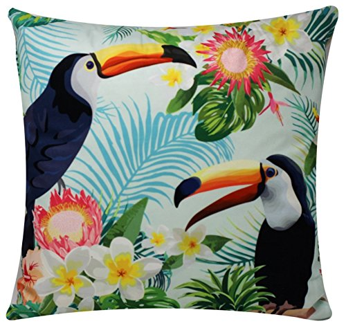 Chenille Cotton Cushion Cover with Floral & Twocan Tropical Print for Sofa Bed Couch 17 x 17 inch