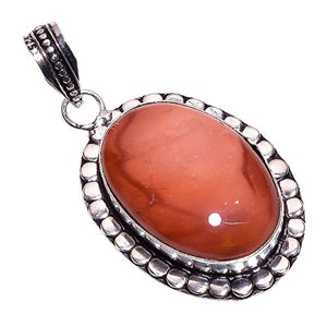 Sterling Silver Overlay Handmade Mookaite Pendant Girl's Women's Necklace Pendant Rhodium Plated Chain NLG-211