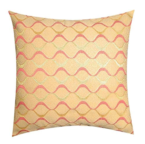 Two Sided Print Khadi Weaved Abstract Lined Plush Beige 17''x 17'' Cushion Cover Pillow for Sofas Beds