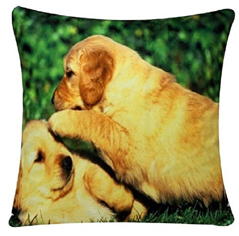 Cute Golden Retriever Friendship Animal Print Chenille Cotton 17 x 17 inch Cushion Cover Pillowcase for Sofa Bed Couch