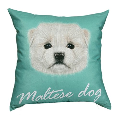 "Lovely Maltese Dog Face Print Cotton 18"" X 18"" Cushion Cover Pillow for Sofa Bed"