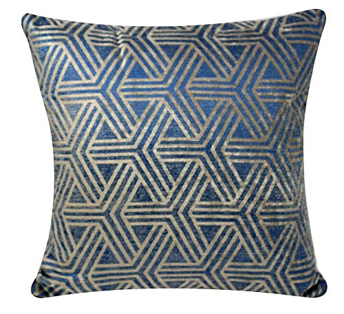 Bullahshah Self Embossed Geometric Design Plush 17 X 17 inch Square Cushion Cover Pillowcase for Sofa Bed Couch