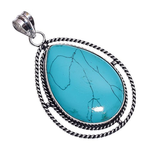Sterling Silver Overlay Handmade Reconstituted Tibetan Turquoise Pendant Girl's Women's Necklace Pendant Rhodium Plated Chain NLG-513