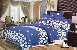 Bullahshah Daisies in Bloom Floral Design Single Duvet Cover Bedding Set with Pillowcases, Blue/White/Yellow