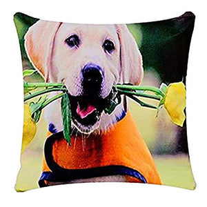 Cute Labrador Pup Dog with Roses Dog Print Chenille Cotton 17 x 17 inch Cushion Cover Pillowcase for Sofa Bed Couch