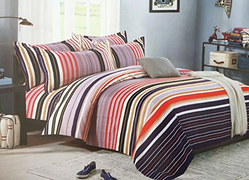 Bullahshah Luxury Multicoloured Stripes Design Single Duvet Cover Bedding Set with Pillowcases, White/Red/Lilac