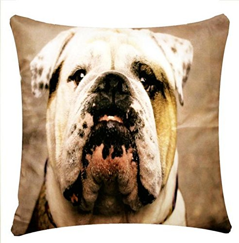 Bulldog Print Character Design Chenille Cotton 17 x 17 inch Cushion Cover Pillowcase for Sofa Bed Couch