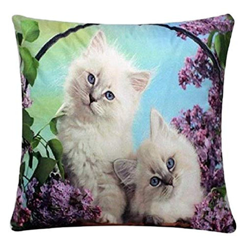 Cute Blue Eyes Persian Kittens Animal Print Chenille Cotton 17 x 17 inch Cushion Cover Pillowcase for Sofa Bed Couch