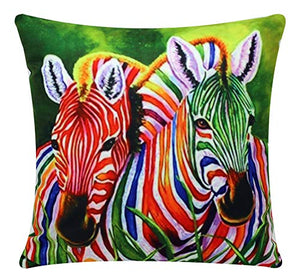 Multicolored Watercolor Effect Digital Zebra Print Chenille Cotton Square 17 x 17 inch Cushion Cover Pillowcase for Sofa/Bed/Couch