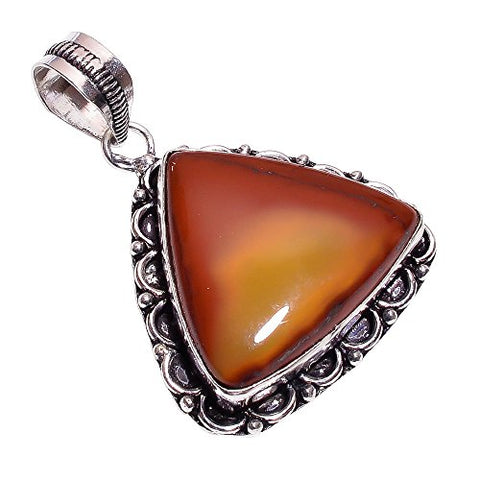 925 Sterling Silver Overlay Handmade Mookaite Pendant Girl's Women's Necklace Pendant Rhodium Plated Chain NLG-176