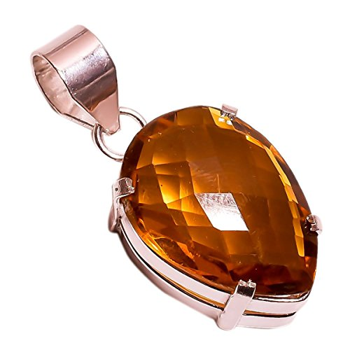 925 Sterling Silver Overlay NLG-105 Citrine Stone Width 1.9cm Girls Women's Necklace Pendant Rhodium Plated Chain