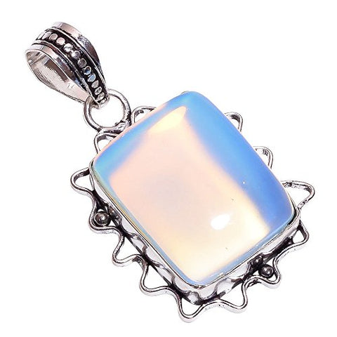 Sterling Silver Overlay Handmade Milky Opal Pendant Girl's Women's Necklace Pendant Rhodium Plated Chain NLG-212