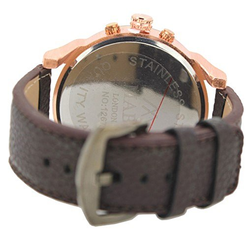 MABZ Men's Dual Time Zone Leather Strap Small Decorative Dials Wrist Watch Analog Quartz Buckle Clasp Extra Battery