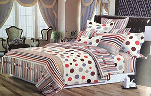 Bullahshah Lovely Polka Dots and Stripes Duvet Cover Bedding Set with Pillowcases, Cream/Red/Grey