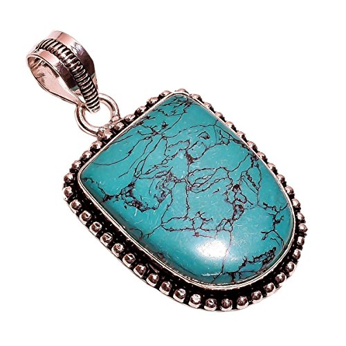 Sterling Silver Overlay NLG-89 Reconstituted Tibetan Turquoise Width 2.4cm Girls Women's Pendant Necklace Rhodium Plated Chain