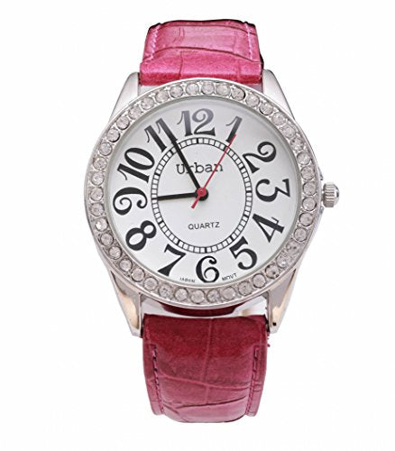 Urban Women's Wrist Watch Silver Diamante Large Dial Display Analog Japanese Quartz with Pink PU Leather Strap UBN-L