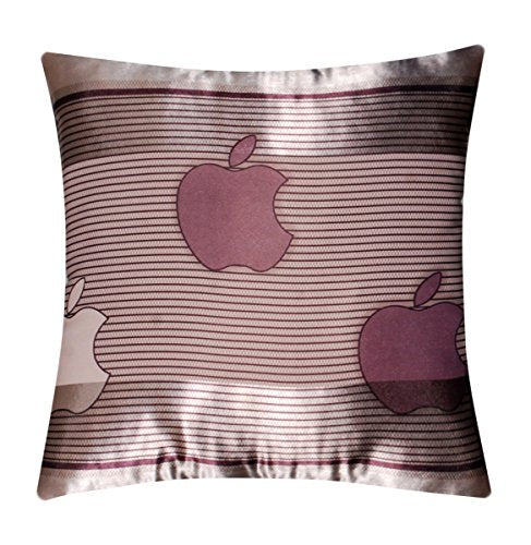 "Apple Print Abstract Self Embossed Stripes Silk Satin 16"" X 16"" Cushion Cover Pillow for Sofa Bed"