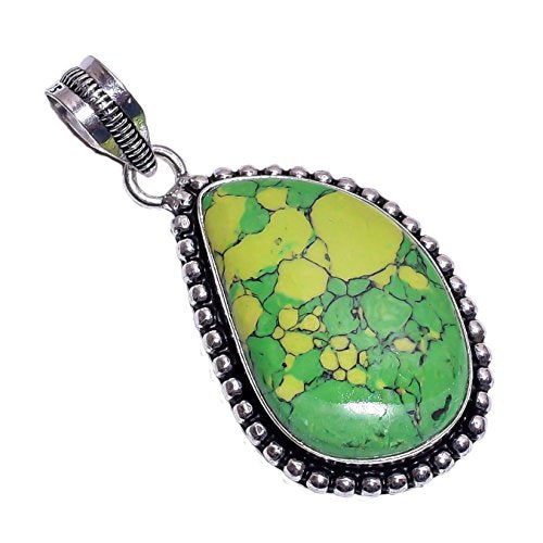 Sterling Silver Overlay Handmade Reconstituted Green Turquoise Pendant Girl's Women's Necklace Pendant Rhodium Plated Chain NLG-384