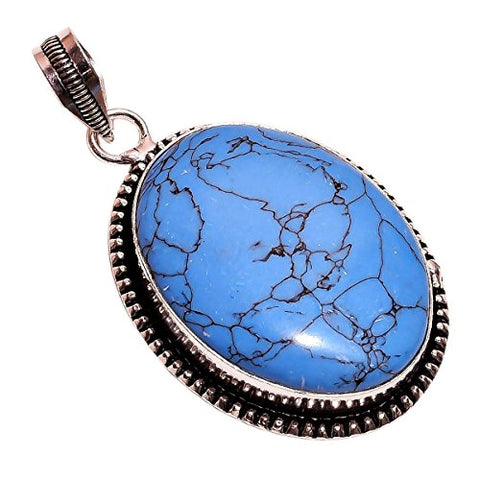 Sterling Silver Overlay NLG-72 Reconstituted Tibetan Turquoise Stone Width 3.3cm Girls Women's Pendant Necklace Rhodium Plated Chain