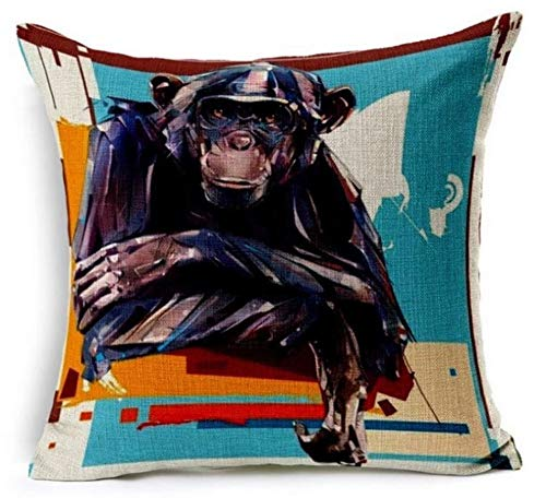 Watercolour Effect Digital Print Cheeky Monkey Chimpanzee Chenille Cotton Square 17 x 17 inch Cushion Cover Pillowcase for Sofa/Bed/Couch