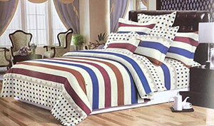 Bullahshah Fashion Stripes and Polka Dots in Blue/Brown/Cream Duvet Cover Bedding Set with Pillowcases