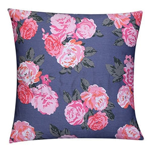 "Pink Floral Design Grey Plush 100% Twill Cotton 16"" X 16"" Cushion Cover Pillow For Sofa Bed"