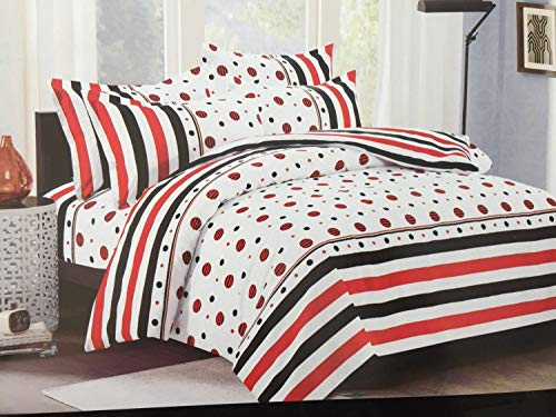 Bullahshah Polka Dots and Stripes Design Stylish Duvet Cover Bedding Set with Pillowcases, White/Red/Black