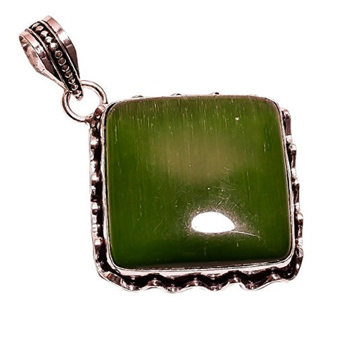 925 Sterling Silver Overlay NLG-95 Green Cats Eye Width 3.2cm Girls Women's Pendant Necklace Rhodium Plated Chain