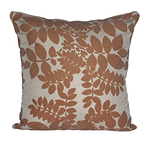 "Gorgeous Cream with Beige Velvet Leaves 16"" X 16"" Cushion Covers Pillow For Sofa Bed"