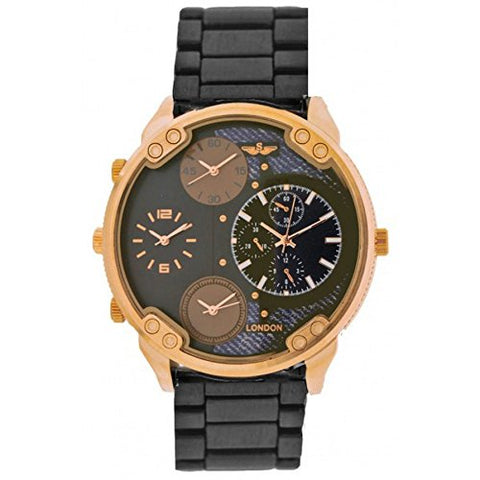 Softech Men's Gun Metal with Rose Gold Dial Four Time Zones Metal Strap Wrist Watch Analog Quartz Fold Over Clasp Extra Battery
