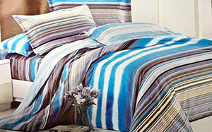 Bullahshah Water Colour Panels and Stripes Design Double Duvet Cover Bedding Set with Pillowcases, Blue/Purple/White
