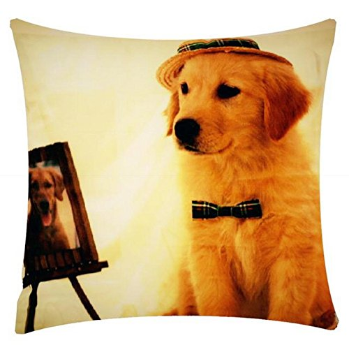 Posing Labrador Dog Print Character Design Chenille Cotton 17 x 17 inch Cushion Cover Pillowcase for Sofa Bed Couch