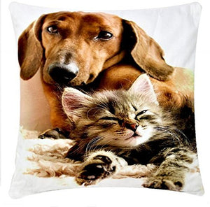Cat and Dog Friendship Chenille Cotton Digital Print Cushion Cover Pillowcase for Sofa/Bed/Couch, 17 x 17 inch