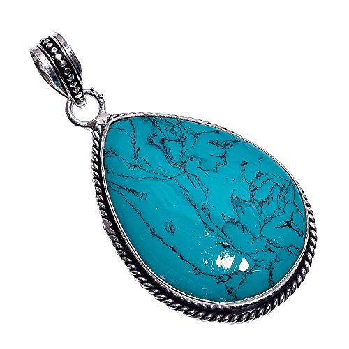 Sterling Silver Overlay Handmade Reconstituted Tibetan Turquoise Pendant Girl's Women's Necklace Pendant Rhodium Plated Chain NLG-455